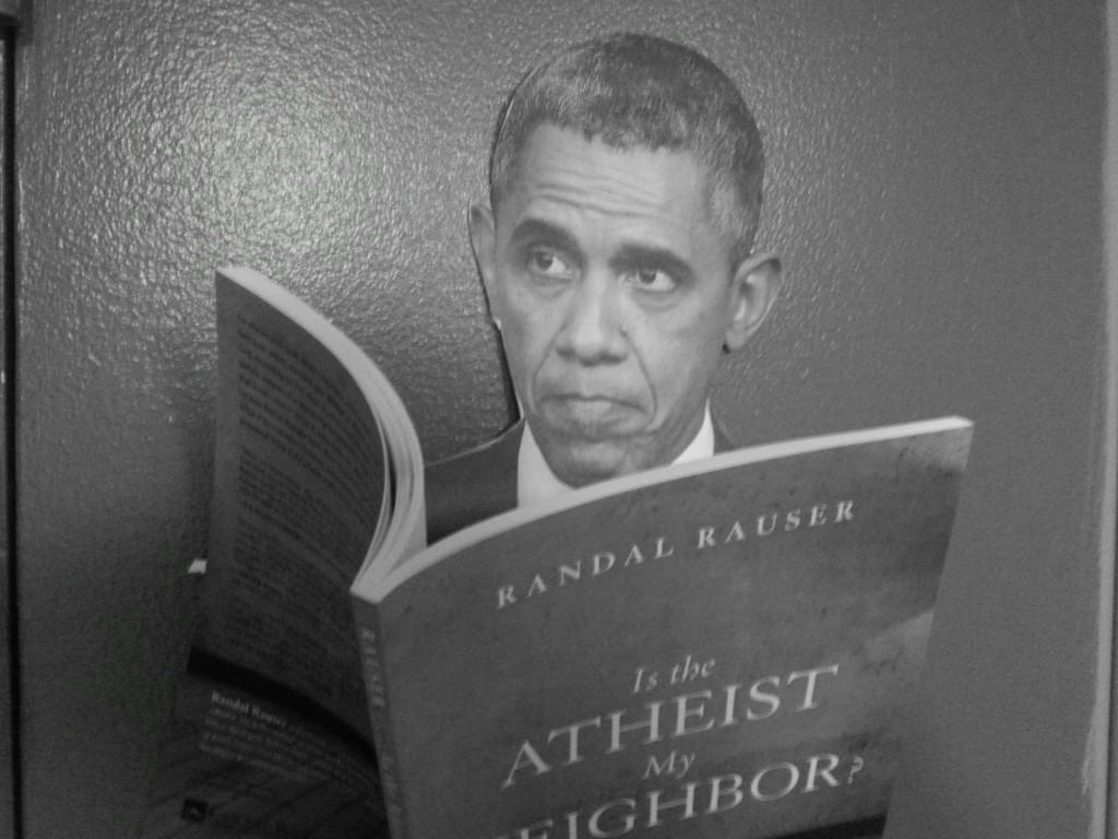 Obama reading Randal's book