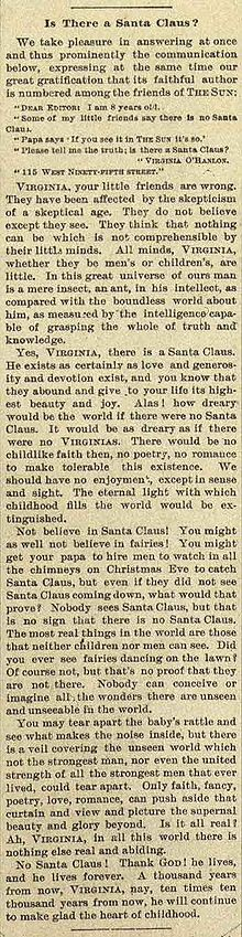 Yes Virginia, there is a Santa Claus (original column)