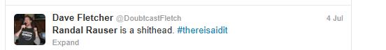 Dave Fletcher's tweet