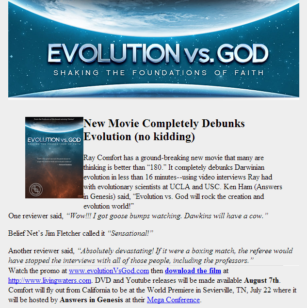 Evolution debunked in sixteen minutes!