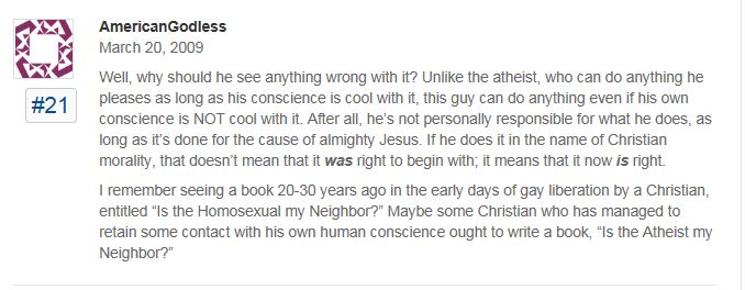 Is the Atheist My Neighbor Comment