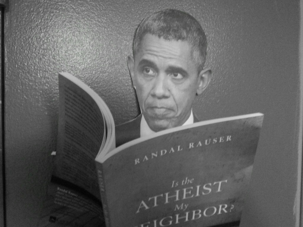 Obama reading Randal's book